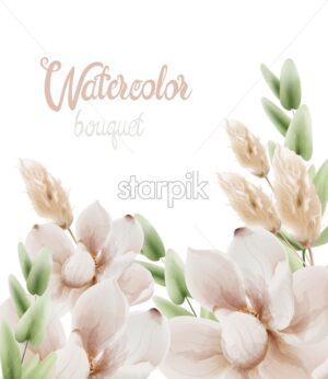 Watercolor flowers bouquet background vector. Wedding gretting card - Starpik Stock