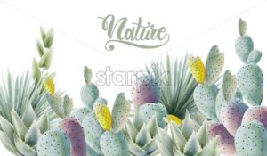 Watercolor green cactus and palm leaves background vector - Starpik Stock