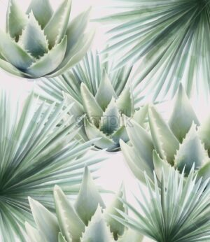 Watercolor green palm and cactus leaves. Background vector - Starpik Stock