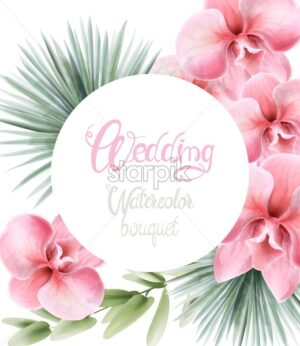 Watercolor poppy rose flowers and palm leaves vector. Wedding card bouquet - Starpik Stock