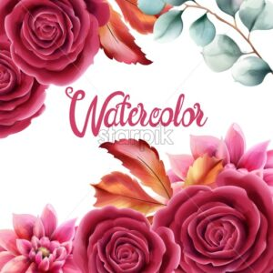 Watercolor rose flowers and autumn leaves greeting card vector. Floral bouquet decor - Starpik Stock