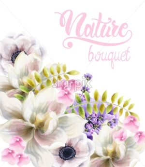 Watercolor rose flowers and leaves background vector. Floral bouquet decor - Starpik Stock