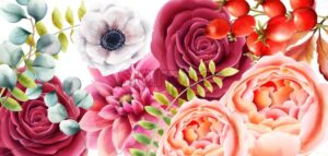 Watercolor rose flowers, berries and leaves autumn background vector. Floral bouquet decor - Starpik Stock