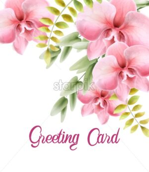 Watercolor rose flowers with leaves bouquet. Greeting card vector - Starpik Stock