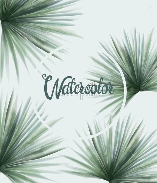 Watercolor summer green palm leaves. Background vector - Starpik Stock