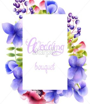 Watercolor wedding bouquet of orchid flowers, berries and leaves. Vector composition - Starpik Stock