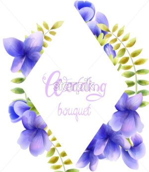 Watercolor wedding bouquet of orchid flowers. Leaves in wreath. Vector composition - Starpik Stock