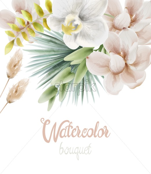 Watercolor white orchid flowers and palm leaves greeting card vector. Background bouquet - Starpik Stock