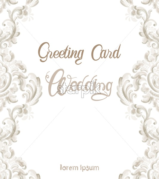 Wedding greeting card with rococo texture pattern Vector. Floral ornament decoration. Victorian engraved retro design. Vintage grunge fabric decors. Luxury fabrics - Starpik Stock