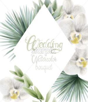 Wedding watercolor bouquet with palm leaves and white orchid. Background Vector - Starpik Stock