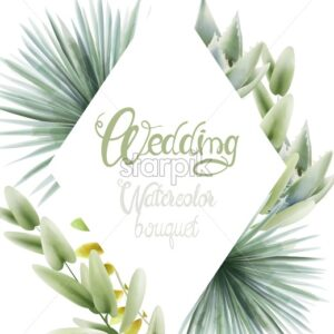Wedding watercolor bouquet with palm leaves. Background Vector - Starpik Stock