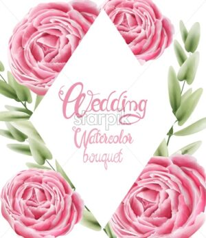Wedding watercolor bouquet with rose flowers and leaves. Greeting card vector - Starpik Stock