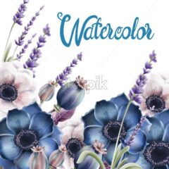 Wild forest flowers bouquet card vector watercolor. Isolated background. Provence flowers banner - Starpik Stock