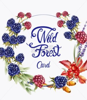 Wild forest fruits wreath bouquet card vector watercolor. Isolated background. Provence flowers banner - Starpik Stock