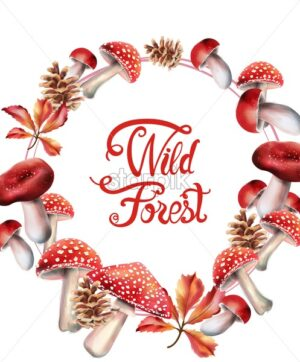 Wild forest red mushrooms on wreath vector. Isolated background - Starpik Stock