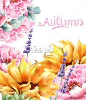 Wild nature watercolor autumn flowers bouquet vector. Delicate postcard - Starpik Stock