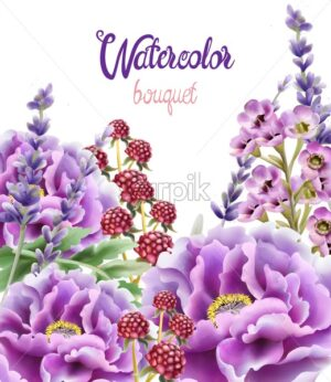 Wild nature watercolor flowers bouquet vector. Delicate postcard - Starpik Stock