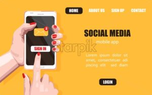 Woman hands with red nails clicking on sign in button. Social Media site banner vector. Yellow background - Starpik Stock