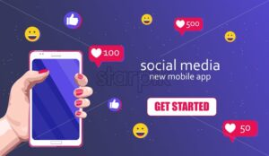 Woman hands with red nails holding a smart phone. Emoji icons like button, happy face and hearts flowing. Social media banner vector - Starpik Stock