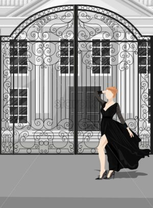 Woman in black dress posing in front of castle gates vector. Flat style - Starpik Stock