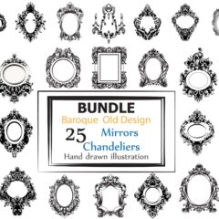 Bundle 25 Vector mirrors and  chandeliers collection