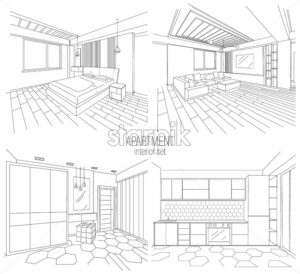 Apartment interior set with living room, kitchen and bedroom sketches. Modern style. Vector - Starpik Stock