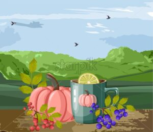 Autumn cozy composition with cup of hot chocolate with marshmallows. Red and blue berries and pumpkins. Green mountains and cloudy sky with birds. Organic and healthy lifestyle vector - Starpik Stock
