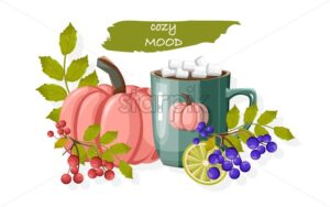 Autumn cozy composition with cup of hot chocolate with marshmallows. Red and blue berries and pumpkins. Organic and healthy lifestyle vector - Starpik Stock