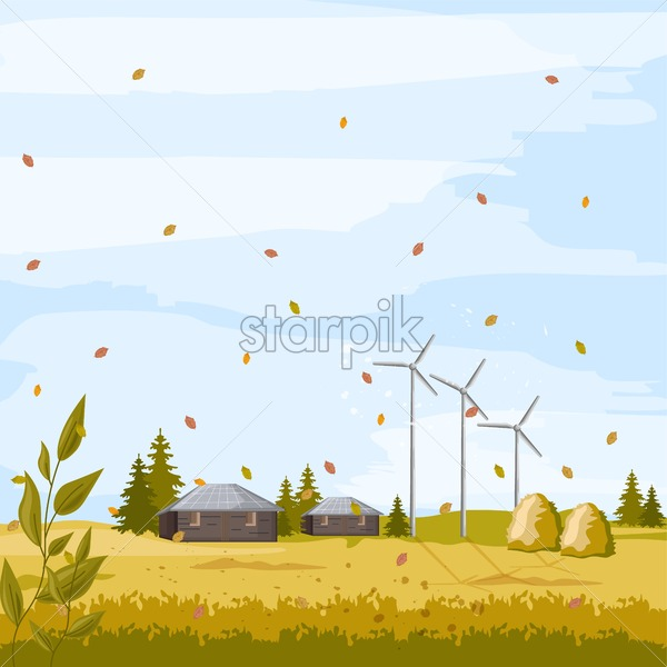 Autumn meadow field with barn, haystack and windmill on background. Warm weather. Farm Vector - Starpik Stock