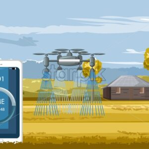 Big drone controlled by smart phone watering the field in autumn season. Future of agriculture idea. Technology vector - Starpik Stock