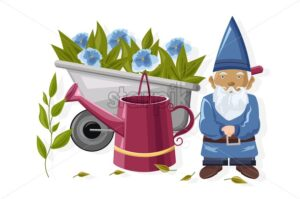 Blue Dwarf with watering can and wheelbarrow full of flowers. Gardening idea vector - Starpik Stock
