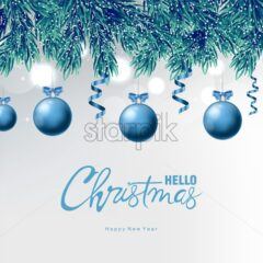 Blue baubles with ribbon and christmas ornaments drawings. Pine tree colorful leaves covered in snow. White bokeh background. Hello Christmas vector - Starpik Stock