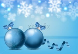 Blue baubles with ribbon and christmas ornaments drawings. Snowflakes and white bokeh on background. Christmas vector - Starpik Stock