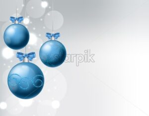 Blue baubles with ribbon and christmas ornaments drawings. White background with bokeh. Christmas vector - Starpik Stock
