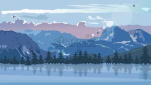 Blue mountains in winter season. Birds flying in the cloudy sky and sun flare. Vector - Starpik Stock