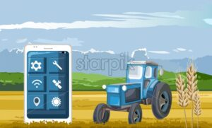 Blue tractor in the field controlled by smart phone app. Wheat on foreground. Blue sky. Technology in agriculture idea vector - Starpik Stock