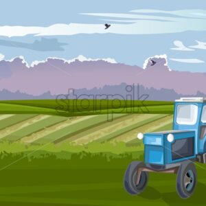 Blue tractor in the green field at daylight. Cloudy sky and birds flying. Agricultural vector - Starpik Stock