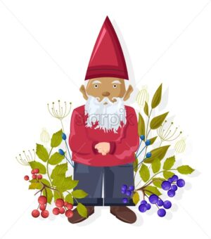 Cartoon dwarf with colorful blue and red berries near him. Green leaves. Healthy food idea. Vector - Starpik Stock