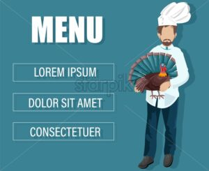 Chef cook holding a turkey in hands. Holiday menu background with place for text. Vector - Starpik Stock