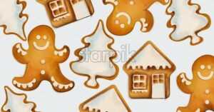 Christmas Gingerbread cookies with snowman, house and fir tree figures. Watercolor style - Starpik Stock