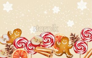Christmas banner with gingerbread cookie, orange slices, half apple, conifer cone and cinnamon sticks. Snow falling Holiday snacks vector - Starpik Stock