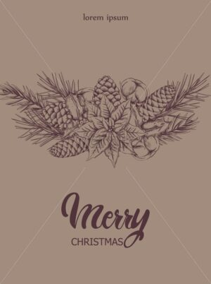 Christmas composition with conifer cones, fir tree leaves, flowers and berries. Place for text. Holiday sketch style vector - Starpik Stock