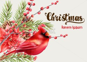 Christmas greeting card background with red bird, flowers, berries, fir leaves, pine cone. Vector - Starpik Stock