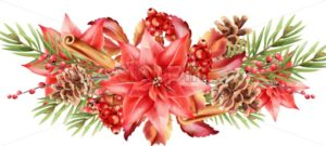 Christmas greeting card background with red flowers, berries, cinnamon, fir leaves, pine cone. Vector - Starpik Stock