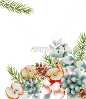 Christmas greeting card with flowers, pine tree leaves, conifer cone, half apple, cinnamon sticks and cotton. Place for text. Watercolor Vector - Starpik Stock