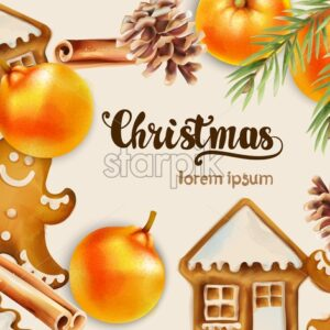 Christmas greeting card with gingerbread cookies, oranges, fir tree leaves, cinnamon sticks and pine cone. Background vector - Starpik Stock