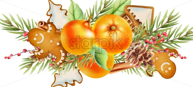 Christmas greeting card with orange, gingerbread cookies, fir tree leaves, cinnamon sticks, conifer cone and red berries. Background vector - Starpik Stock