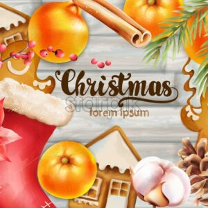 Christmas greeting card with orange, gingerbread cookies, stocking, fir tree leaves, cinnamon sticks, conifer cone and red berries. Wooden Background vector - Starpik Stock