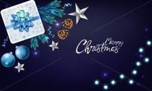 Christmas panoramic banner with wrapped gift boxes, pine tree leaves, baubles, fairy lights and conifer cone. Blue and white color. Holiday vector - Starpik Stock