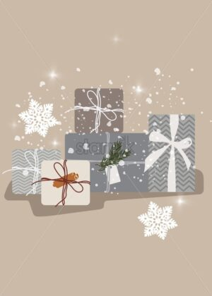 Christmas random sizes gift boxes with ribbons. Snow falling from upside. Holiday vector - Starpik Stock